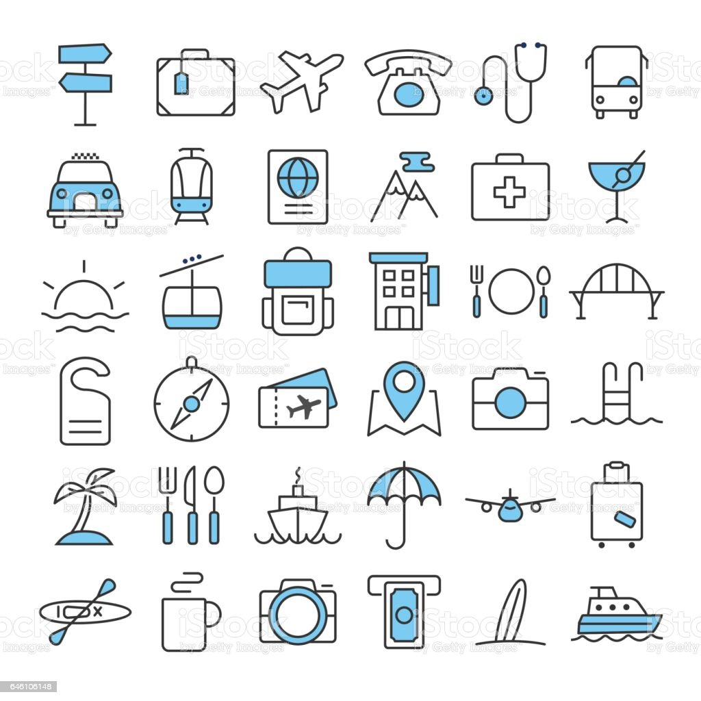Travel thin line color icons set vector art illustration