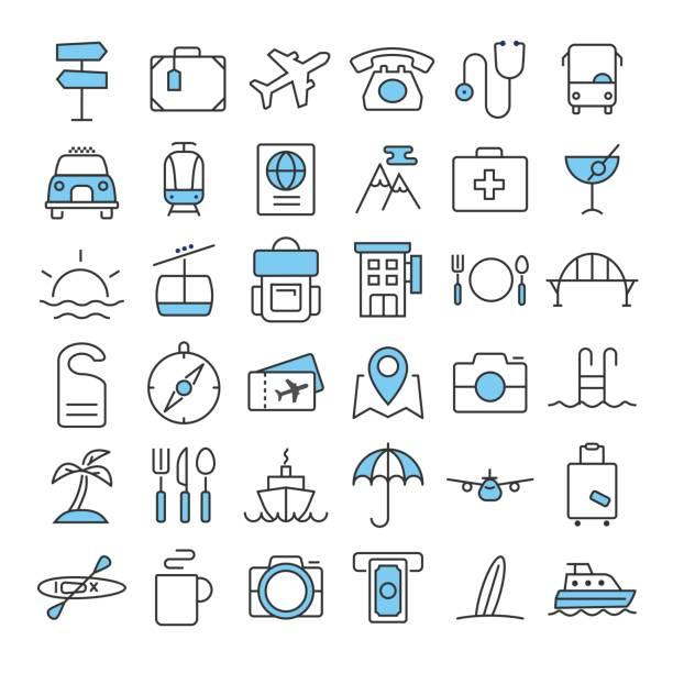 細い線の色アイコン セットを旅行します。 - 旅行/交通機関点のイラスト素材/クリップアート素材/マンガ素材/アイコン素材