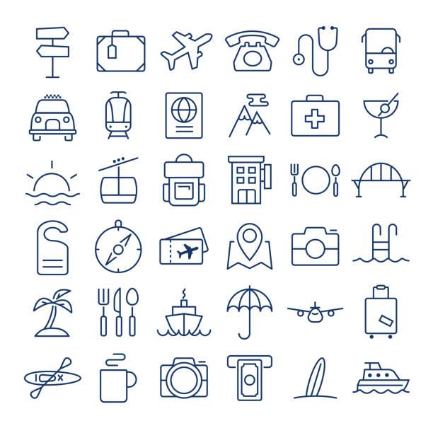 Travel thin line icons set vector art illustration