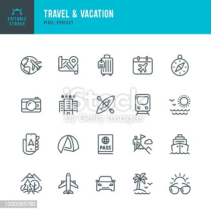 Travel - thin line vector icon set. 20 linear icon. Pixel perfect. Editable outline stroke. The set contains icons: Tourism, Travel, Airplane, Beach, Mountains, Navigational Compass, Palm Tree, Hotel, Passport, Sunglasses, Cruise Ship, Kayaking, Hiking, Train.