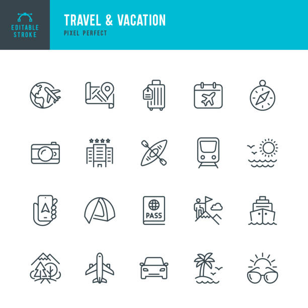 Travel - thin line vector icon set. Editable stroke. Pixel perfect. The set contains icons: Tourism, Travel, Airplane, Beach, Mountains, Navigational Compass, Palm Tree, Passport, Hotel, Cruise Ship, Kayaking, Hiking. Travel - thin line vector icon set. 20 linear icon. Pixel perfect. Editable outline stroke. The set contains icons: Tourism, Travel, Airplane, Beach, Mountains, Navigational Compass, Palm Tree, Hotel, Passport, Sunglasses, Cruise Ship, Kayaking, Hiking, Train. travel stock illustrations