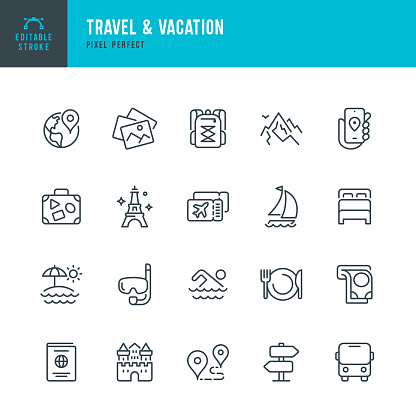 Travel - thin line vector icon set. Editable stroke. Pixel perfect. The set contains icons: Tourism, Travel, Vacations, Beach, Mountains, Eiffel Tower, Passport, Navigation, Mountain, Swimming, Diving, Airplane Ticket.