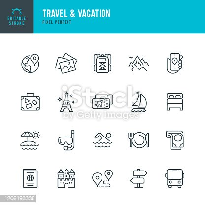 Travel - thin line vector icon set. 20 linear icon. Pixel perfect. Editable outline stroke. The set contains icons: Tourism, Travel, Vacations, Beach, Mountains, Eiffel Tower, Luggage, Castle, ATM, Passport, Navigation, Mountain, Hiking, Diving, Airplane Ticket, Bus.