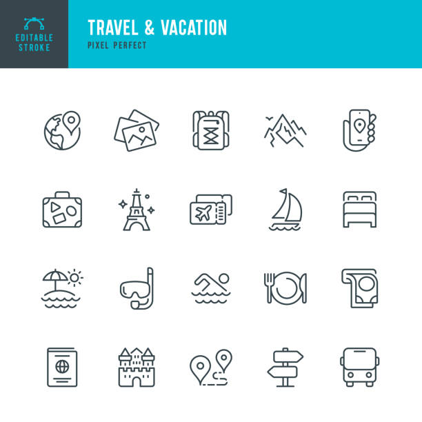 Travel - thin line vector icon set. Editable stroke. Pixel perfect. The set contains icons: Tourism, Travel, Vacations, Beach, Mountains, Eiffel Tower, Passport, Navigation, Mountain, Swimming, Diving, Airplane Ticket. Travel - thin line vector icon set. 20 linear icon. Pixel perfect. Editable outline stroke. The set contains icons: Tourism, Travel, Vacations, Beach, Mountains, Eiffel Tower, Luggage, Castle, ATM, Passport, Navigation, Mountain, Hiking, Diving, Airplane Ticket, Bus. beach icons stock illustrations