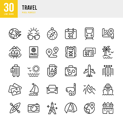 Travel - thin line vector icon set. Pixel perfect. The set contains icons: Tourism, Travel, Airplane, Beach, Mountains, Navigational Compass, Palm Tree, Yacht, Passport, Diving, Cruise Ship, Kayaking, Hiking.