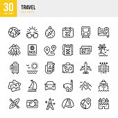 Travel - thin line vector icon set. 30 linear icon. Pixel perfect. Outline stroke expanded. The set contains icons: Tourism, Travel, Airplane, Beach, Mountains, Navigational Compass, Palm Tree, Yacht, Passport, Diving, Cruise Ship, Kayaking, Hiking.