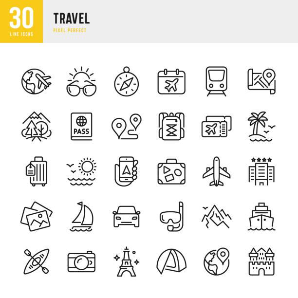 travel - zestaw ikon wektorowych cienkich linii. piksel idealny. zestaw zawiera ikony: turystyka, podróże, samolot, plaża, góry, kompas nawigacyjny, palma, jacht, paszport, nurkowanie, statek wycieczkowy, kajakarstwo, turystyka. - podróżowanie stock illustrations