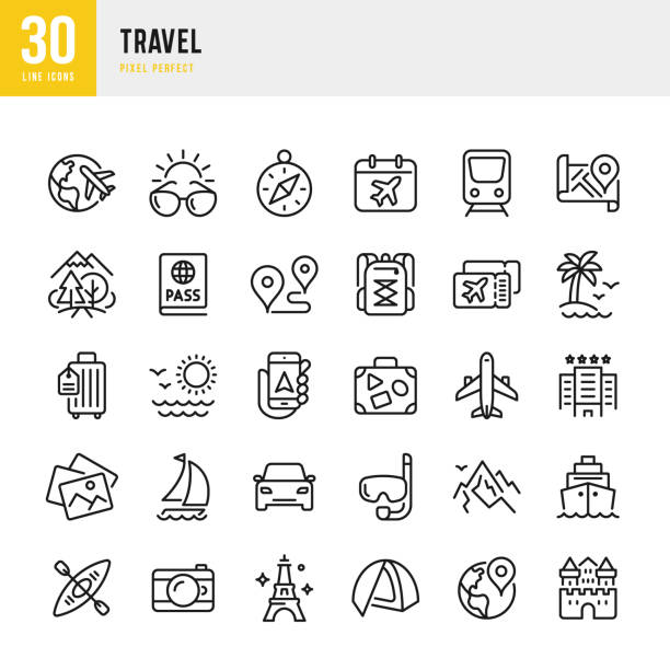 Travel - thin line vector icon set. Pixel perfect. The set contains icons: Tourism, Travel, Airplane, Beach, Mountains, Navigational Compass, Palm Tree, Yacht, Passport, Diving, Cruise Ship, Kayaking, Hiking. Travel - thin line vector icon set. 30 linear icon. Pixel perfect. Outline stroke expanded. The set contains icons: Tourism, Travel, Airplane, Beach, Mountains, Navigational Compass, Palm Tree, Yacht, Passport, Diving, Cruise Ship, Kayaking, Hiking. beach icons stock illustrations