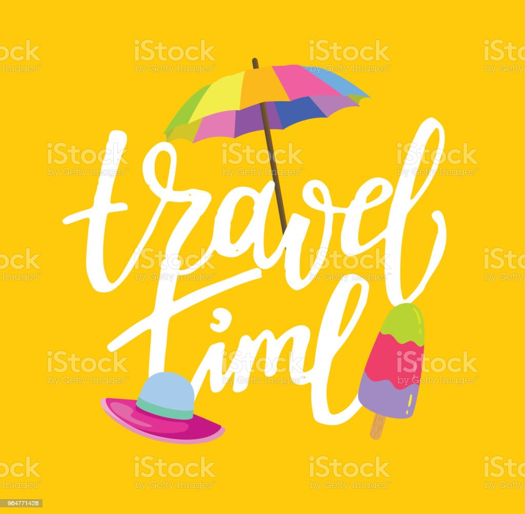 Travel time - hand drawn doodle banner royalty-free travel time hand drawn doodle banner stock illustration - download image now