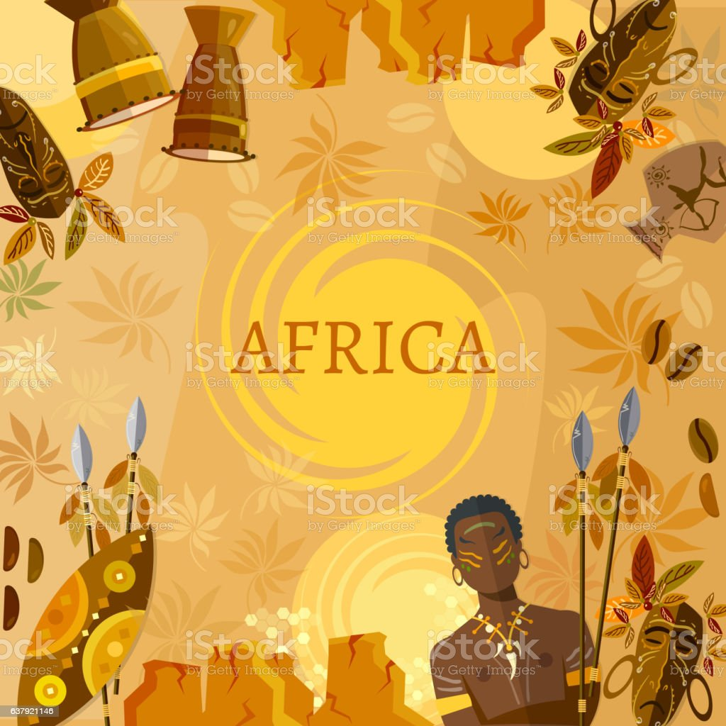 Travel to Africa, people, tribe. African traditions and culture. vector art illustration