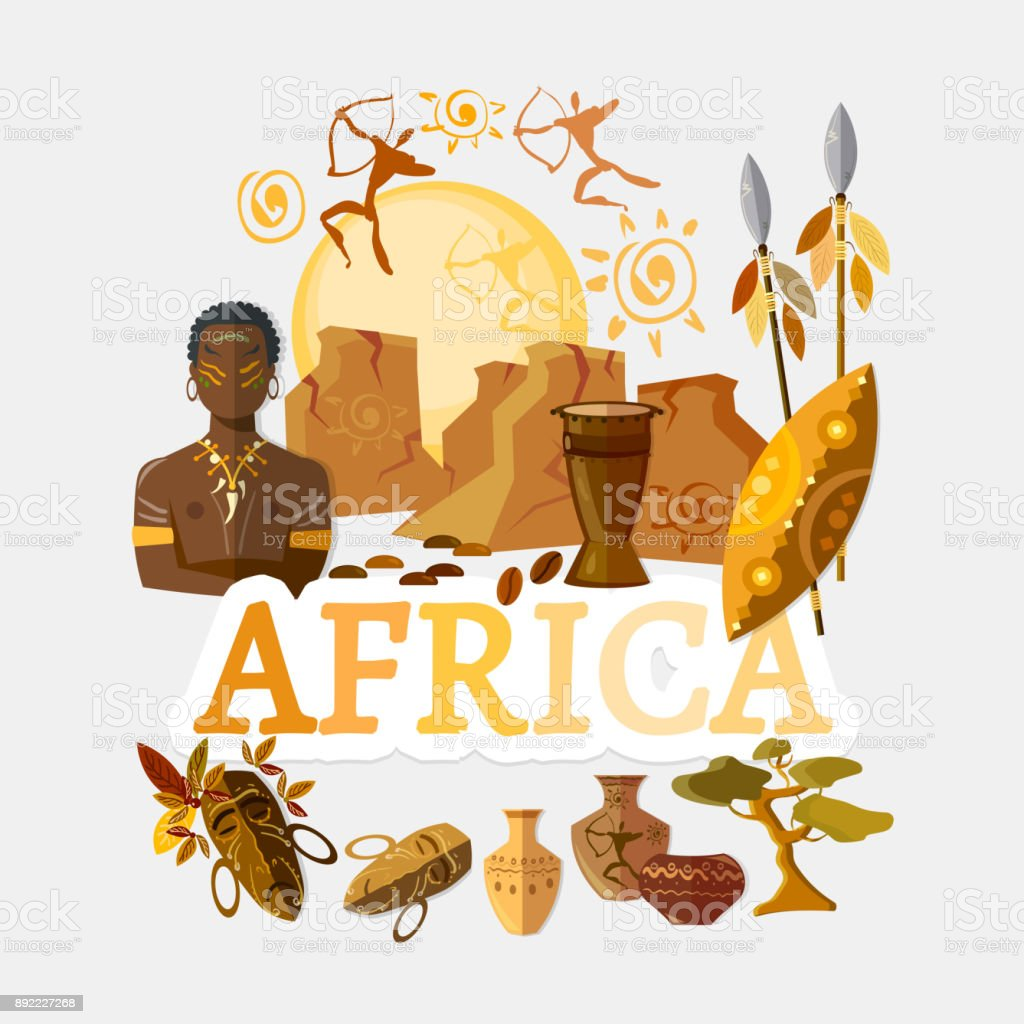 Travel to Africa. Traditions and culture,  Welcome to Africa. Collection of symbolic elements. Template travel background vector art illustration