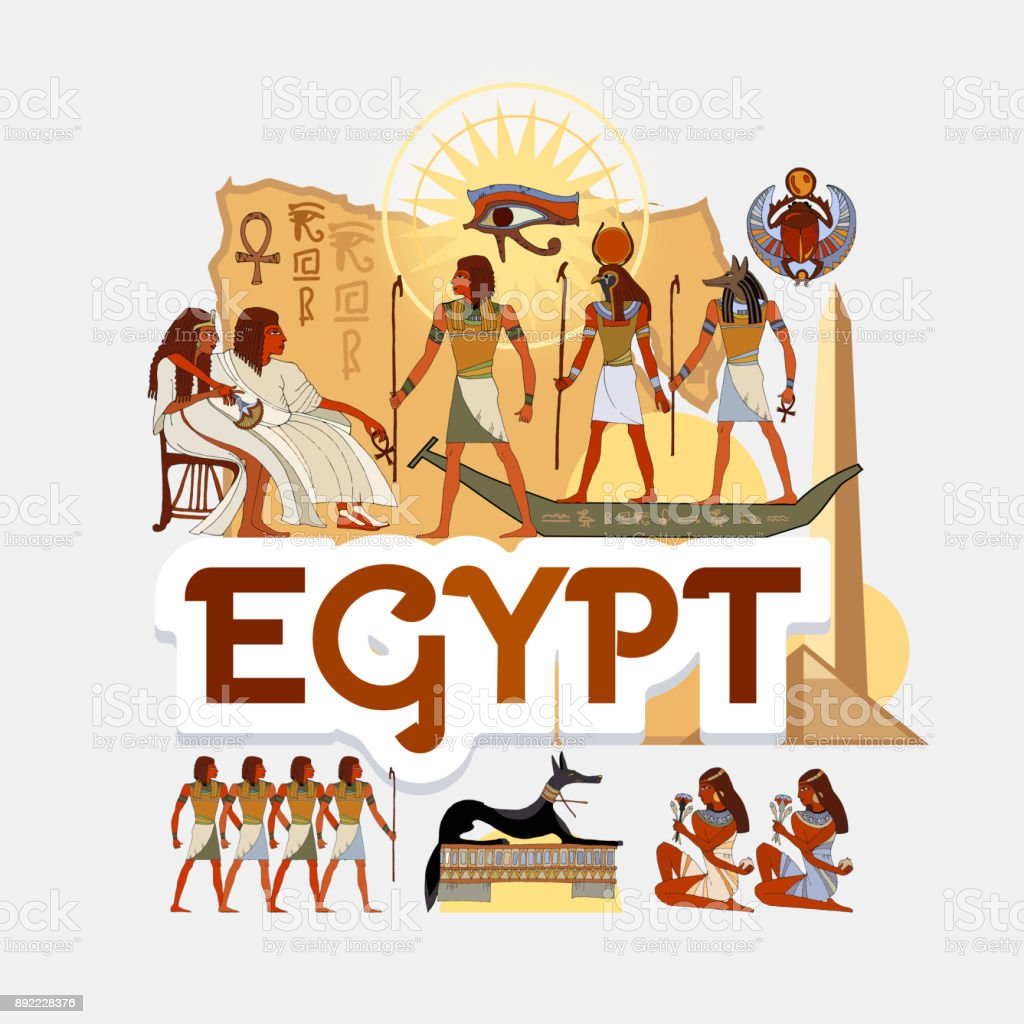 Travel to Ancient Egypt. Traditions and culture,  Welcome to Ancient Egypt. Collection of symbolic elements. Template travel background vector art illustration