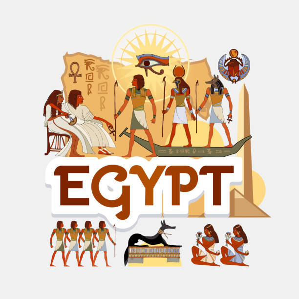 Travel to Ancient Egypt. Traditions and culture,  Welcome to Ancient Egypt. Collection of symbolic elements. Template travel background Travel to Ancient Egypt. Traditions and culture,  Welcome to Ancient Egypt. Collection of symbolic elements. Template travel background ancient egyptian culture stock illustrations