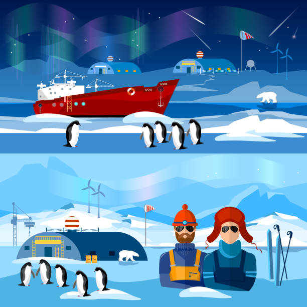 ilustraciones, imágenes clip art, dibujos animados e iconos de stock de travel to antarctica banners. scientific station on north pole - viaje a antártida