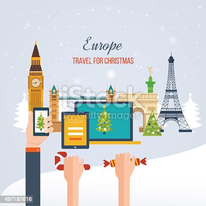 istock Travel to Europe for christmas. Merry Christmas greeting card design 497187616