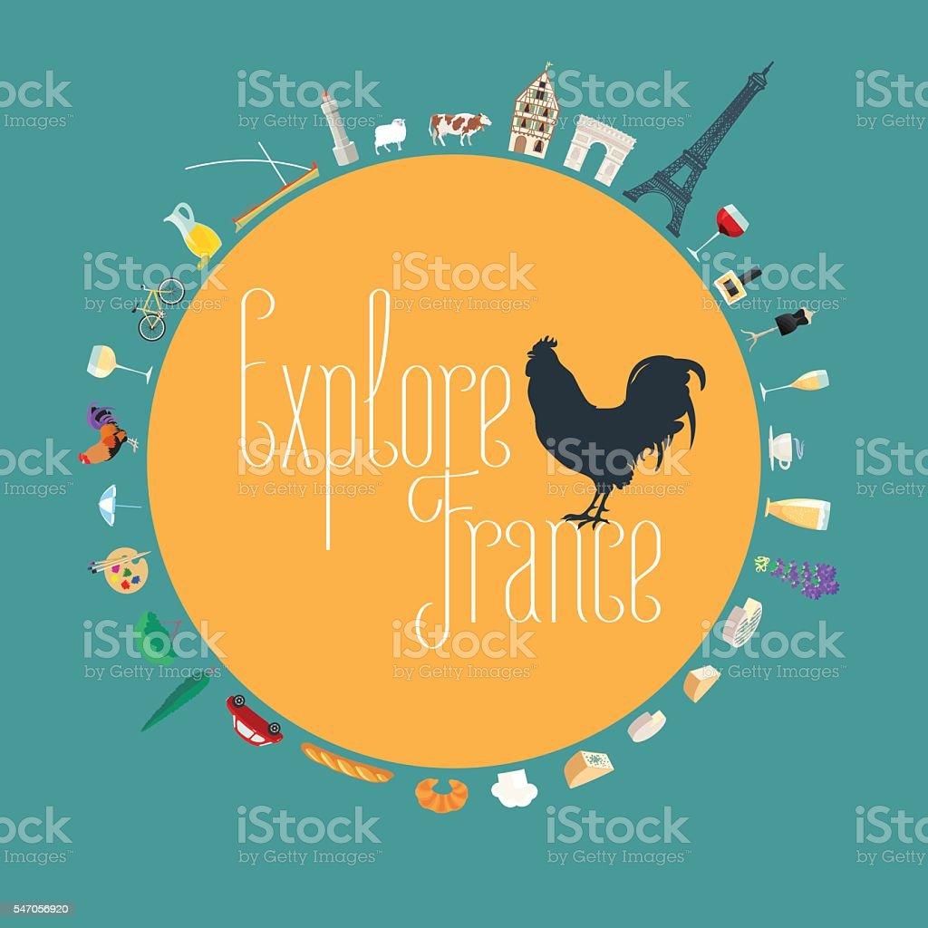 Travel to France concept illustration. Design element for poster vector art illustration