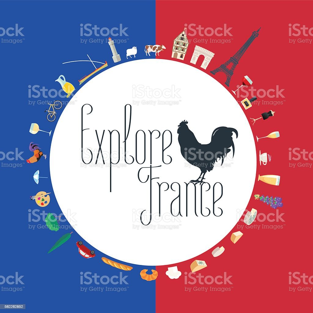Travel to France concept illustration in colors of French flag vector art illustration