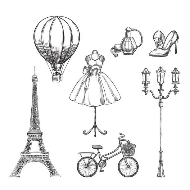 ilustrações, clipart, desenhos animados e ícones de viagem para a mão de frança desenhados elementos de design isolado. ilustração de paris desenho vetorial - moda parisiense