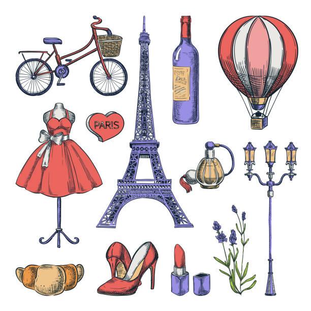 ilustrações, clipart, desenhos animados e ícones de curso aos ícones isolados desenhados mão de france e elementos do projeto. ilustração do esboço da cor do vetor. - moda parisiense
