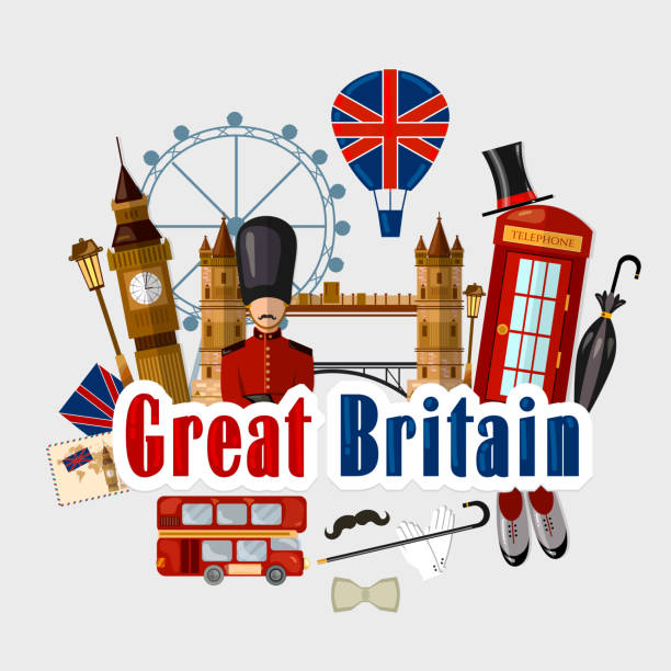 Travel to Great Britain. Traditions and culture,  Welcome to England. Collection of symbolic elements. Template travel background vector art illustration