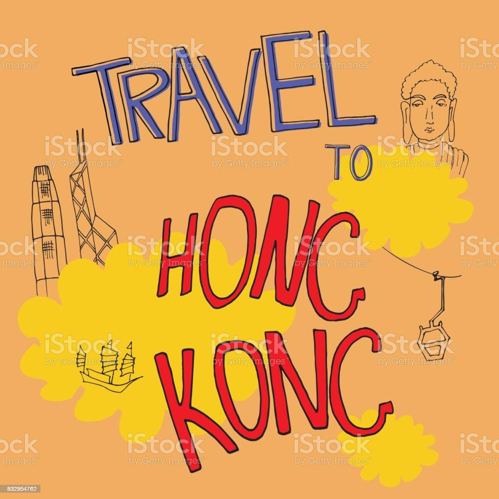 Travel to Hong kong vector art illustration