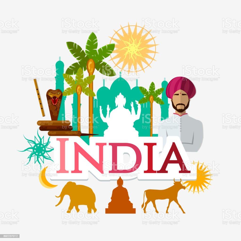 Voyage en Inde. Traditions et culture, Bienvenue en Inde. Collection d'éléments symboliques. Arrière-plan de modèle de voyage. Culture, les traditions, les attractions et les gens - Illustration vectorielle