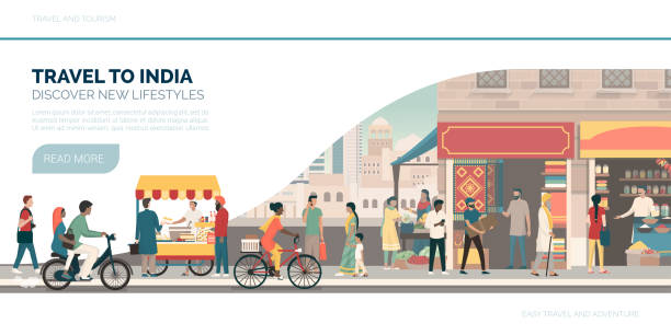 Travel to India Travel to India: vacations and tourism banner with traditional buildings, people and street food indian family stock illustrations