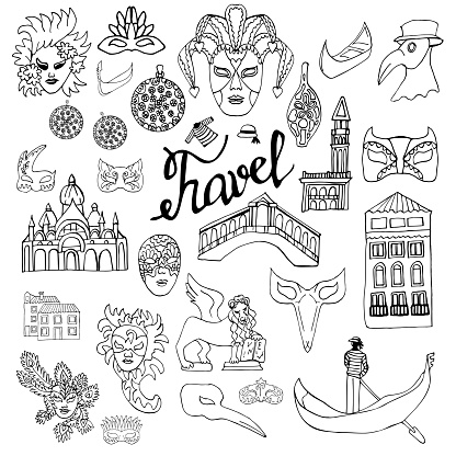 Travel to Italy. Venice. Set of elements in the Doodle style. Carnival masks, houses, gondola, Murano glass. Vector drawing isolated on white background. Coloring book for children and adults.