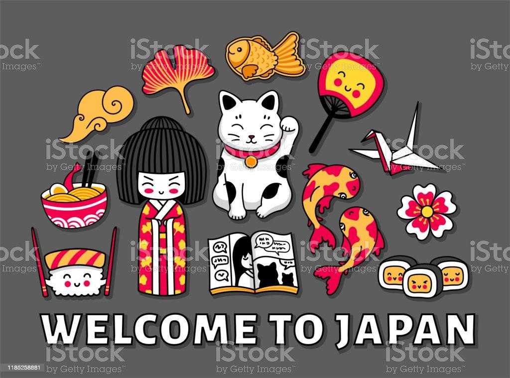 Kawaii japanese girl maneki-neko carps origami Vector Image | 759x1024