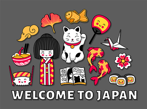 Travel to Japan. Cute cartoon concept for t-shirt, print, poster, postcard, souvenir. Kawaii kokeshi doll, maneki-neko, origami, sushi, ginkgo leaf and fan.