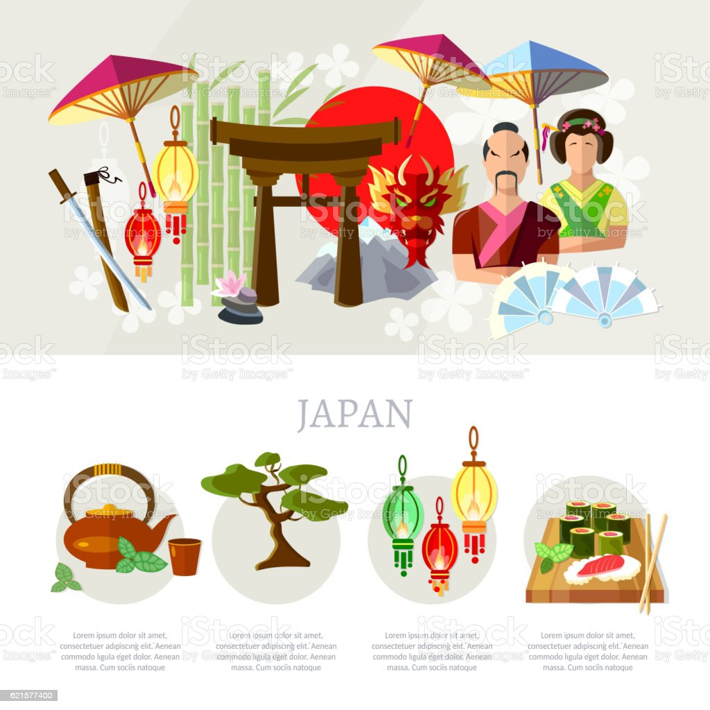 Travel to Japan. Japan attractions, tradition and culture travel to japan japan attractions tradition and culture – cliparts vectoriels et plus d'images de aliment libre de droits