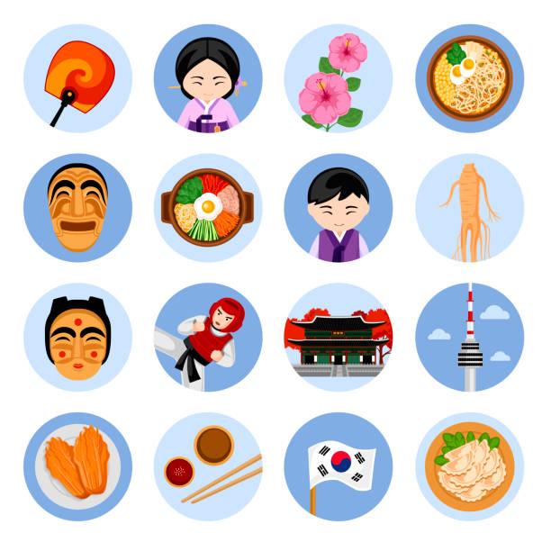 stockillustraties, clipart, cartoons en iconen met reizen naar korea. set van vectorillustraties. koreaanse architectuur, eten, kostuums, traditionele symbolen, mensen. - zuid korea