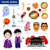 Korean architecture, food, costumes, traditional symbols, people and map. Collection of flat icons. Guide to Korea.