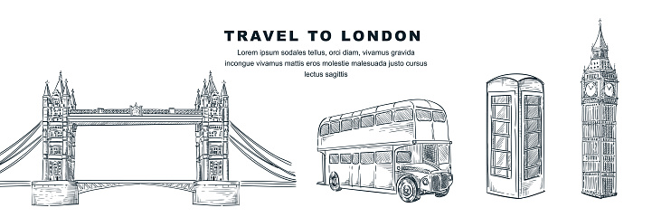 Travel to London hand drawn design elements. Vector sketch illustration of Big Ben, Tower Bridge, telephone booth, double-decker bus. Great Britain famous symbols isolated on white background.