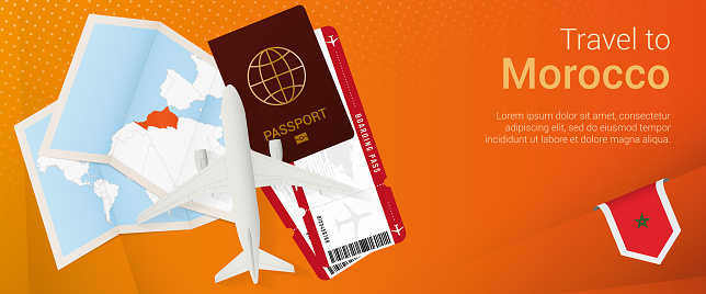 Travel to Morocco pop-under banner. Trip banner with passport, tickets, airplane, boarding pass, map and flag of Morocco.