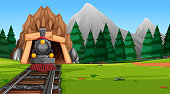 Travel to nature by train illustration