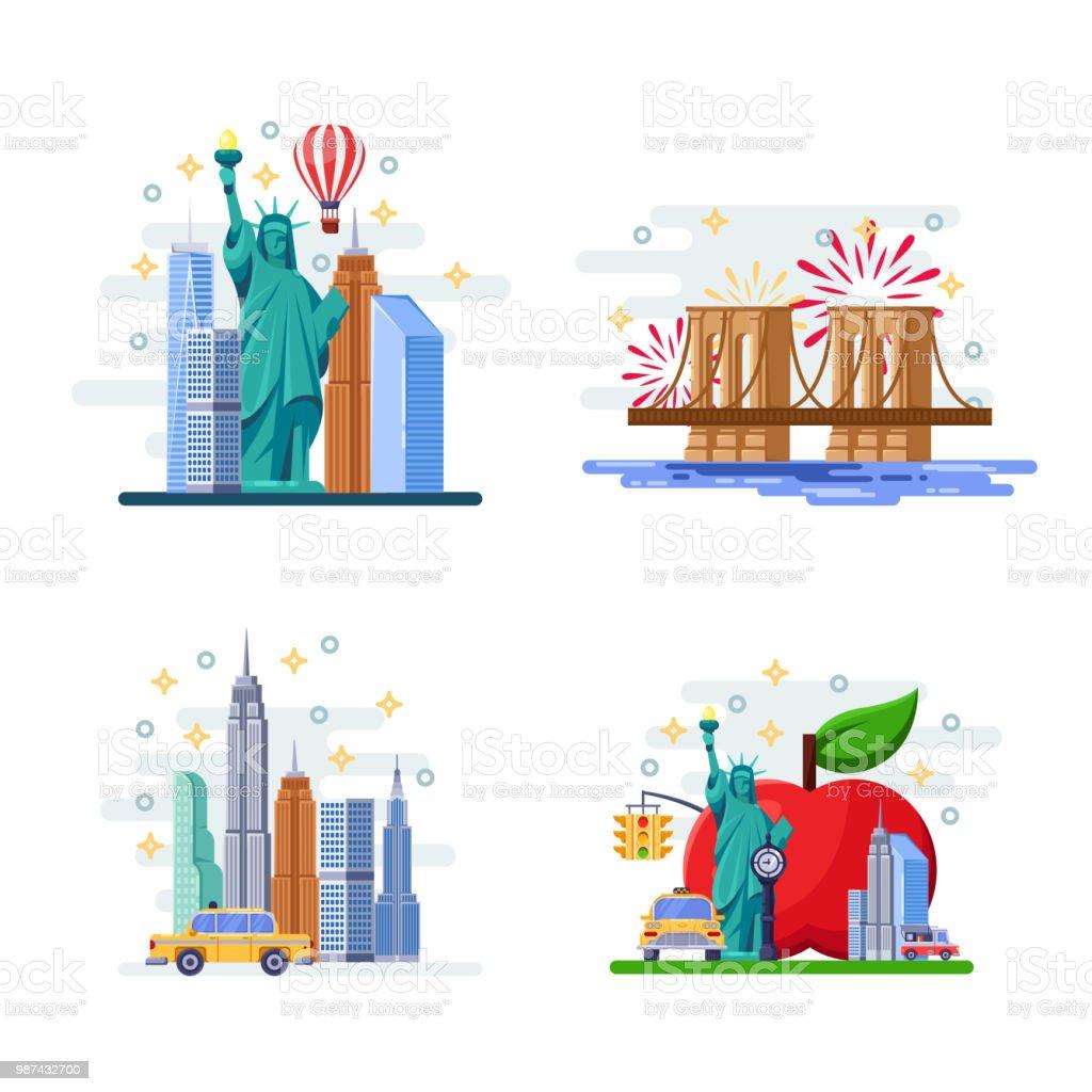 Travel To New York Vector Flat Illustration City Symbols Landmarks