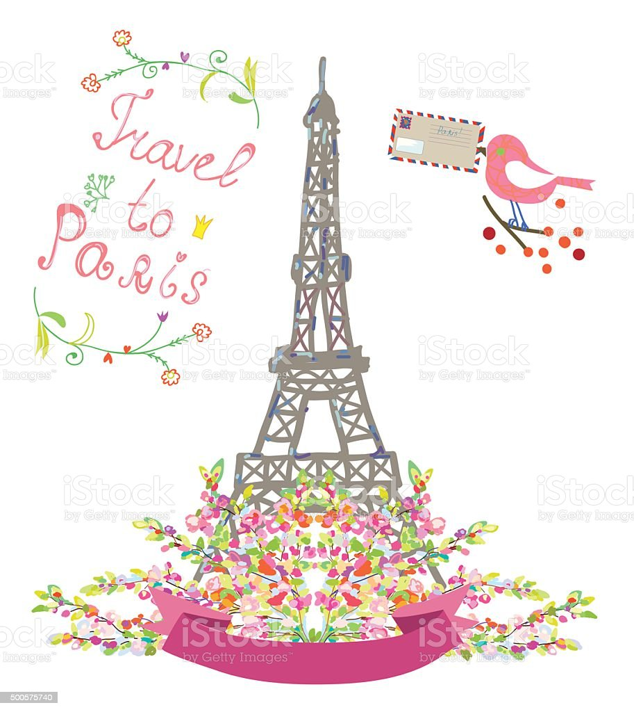 Travel To Paris Cute Poster With Flowers And Bird Royalty Free