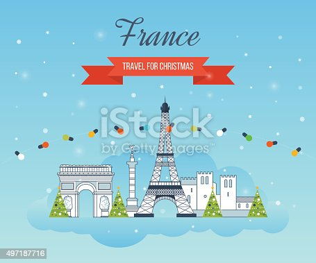 istock Travel to Paris for christmas. Greeting card design. City winter 497187716