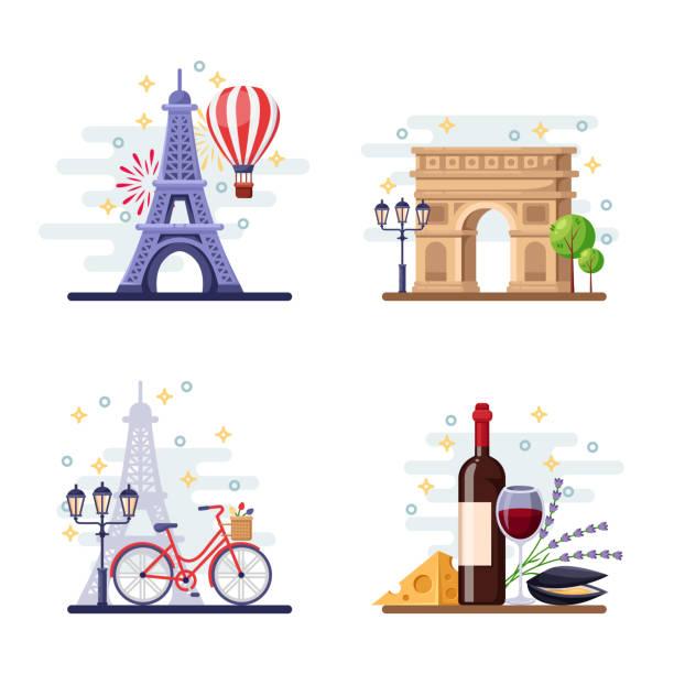 bildbanksillustrationer, clip art samt tecknat material och ikoner med resa till paris vektorillustration platta. city symboler, sevärdheter och god mat. frankrike ikoner och designelement - paris