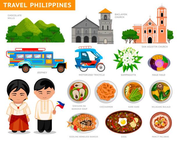 stockillustraties, clipart, cartoons en iconen met reizen naar filipijnen. - filipijnen