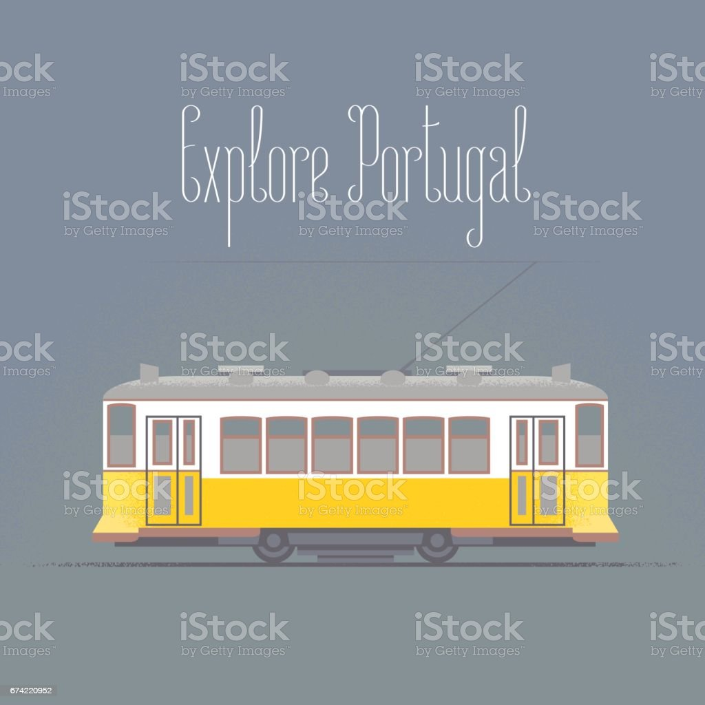 Travel to Portugal concept illustration. Old tramway in Lisboa vector art illustration