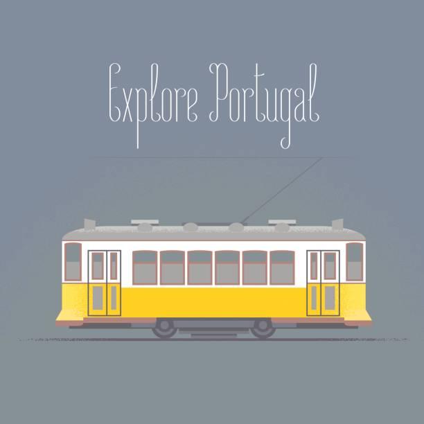 ilustrações de stock, clip art, desenhos animados e ícones de travel to portugal concept illustration. old tramway in lisboa - eletrico lisboa