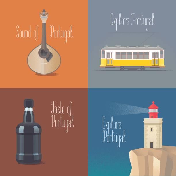 ilustrações de stock, clip art, desenhos animados e ícones de travel to portugal concept vector illustrations - eletrico lisboa