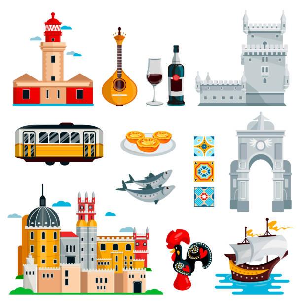 podróż do portugalii ikony i izolowane elementy projektu zestaw. wektorowe symbole kultury portugalskiej i lizbońskiej, jedzenie, zabytki - kultura portugalska stock illustrations