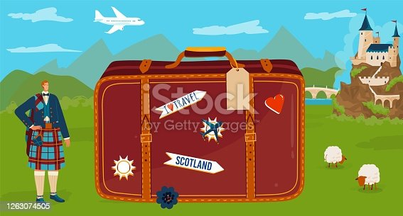 istock Travel to Scotland vector illustration, cartoon flat tiny scotsman character in traditional kilt standing with big tourist suitcase symbol 1263074505