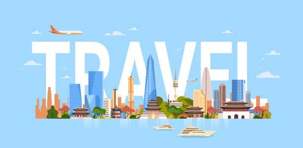 stockillustraties, clipart, cartoons en iconen met reizen naar zuid-korea seoul stad achtergrond met wolkenkrabbers en bezienswaardigheden symbolen moderne koreaanse cityscape - zuid korea