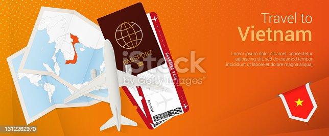 istock Travel to Vietnam pop-under banner. Trip banner with passport, tickets, airplane, boarding pass, map and flag of Vietnam. 1312262970
