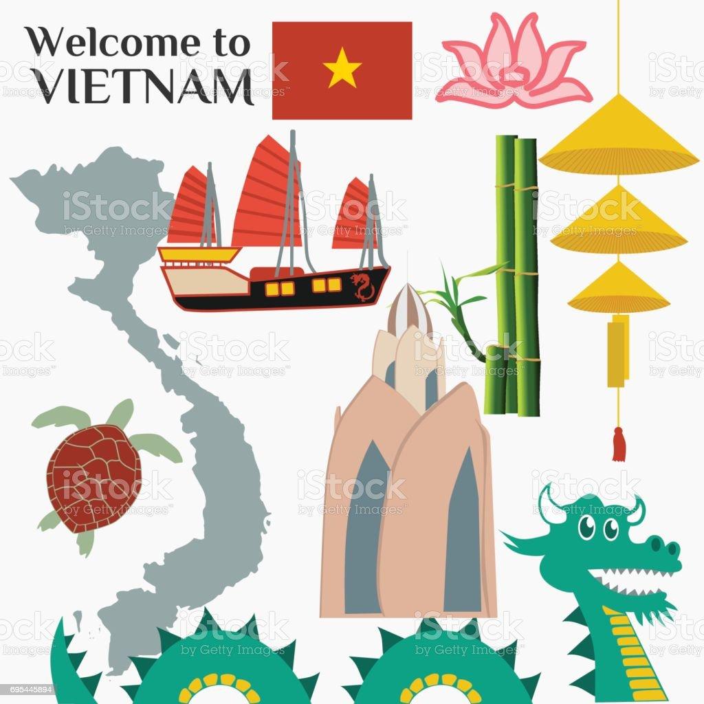 Travel To Vietnam Set Of Traditional Vietnamese Cultural Symbols