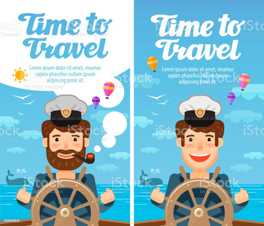 Travel to world. Cruise, vacation. Sailor at the helm of vector art illustration